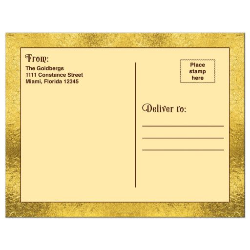 ​Chocolate golden ticket Bar Mitzvah thank you postcard or golden ticket Bat Mitzvah thank you postcard back