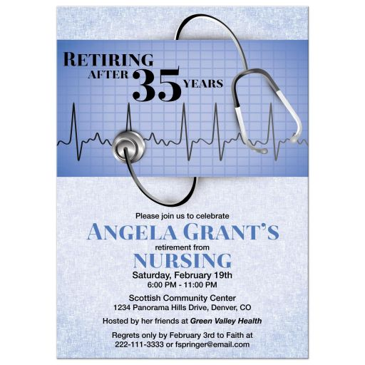 ​Medical doctor retirement party invitation in scrubs blue with stethoscope and heart monitor graphic