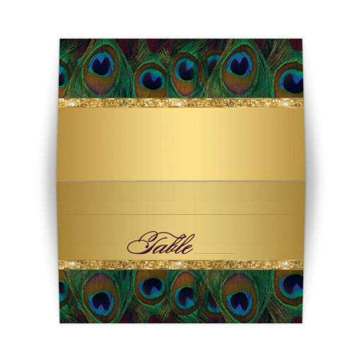Peacock feathers, faux gold folded tent style wedding place cards or escort cards