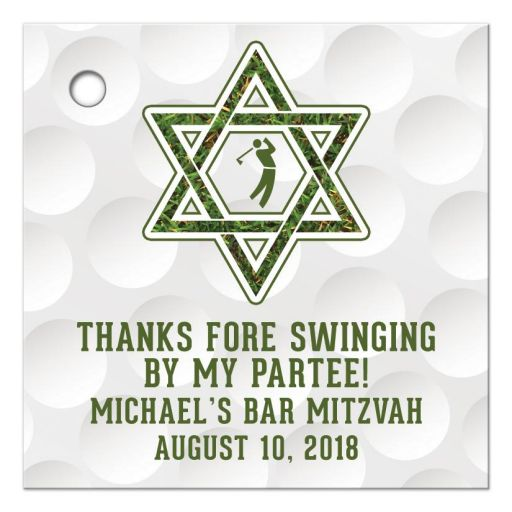 golf golfing bar mitzvah favor tags with hole punch front
