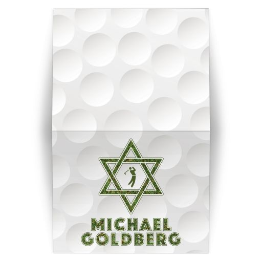 Golf themed Bar Mitzvah thank you card with a golfball background, Star of David, golfer silhouette and green grass accents