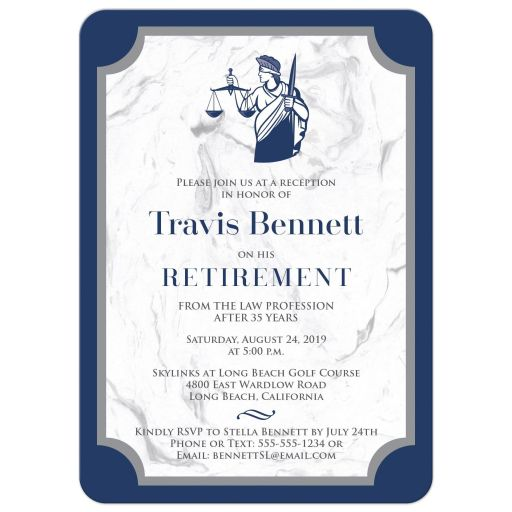 ​Blue, grey white marble look lawyer retirement party or graduation announcement invitation with Lady Justice and the Scales of Justice.