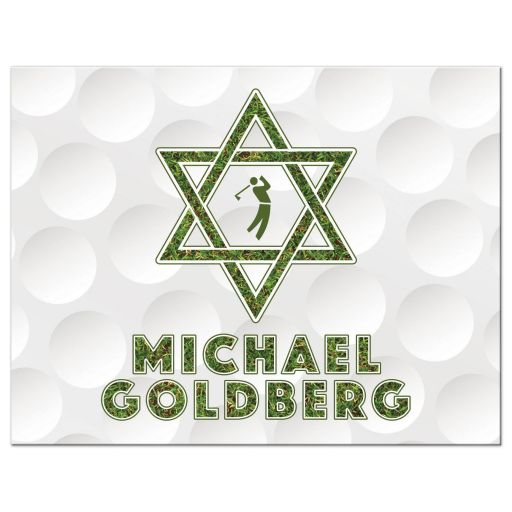 Golf themed Bar Mitzvah thank you postcard with a golfball background, Star of David, golfer silhouette and green grass accents front