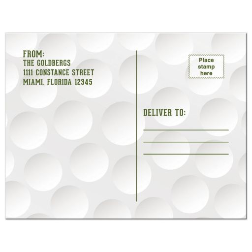 Golf themed Bar Mitzvah thank you postcard with a golfball background, Star of David, golfer silhouette and green grass accents back