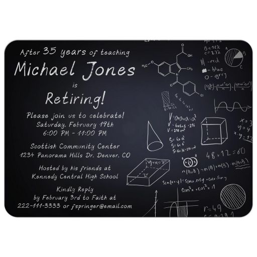 Simple black and white chalkboard professor teacher retirement party invitation