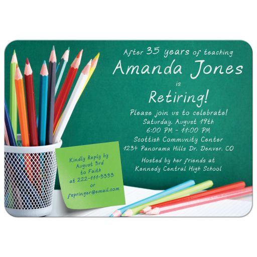 ​Fun pencil crayons and chalkboard teacher retirement party invitation