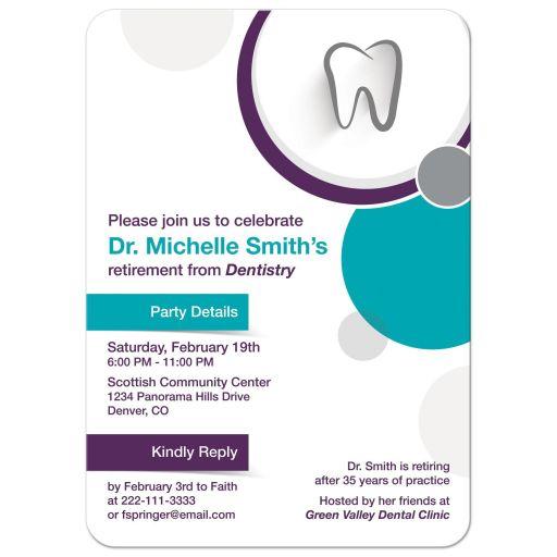 Modern purple teal dentist retirement party invitation