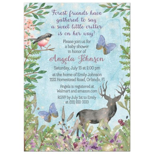 Watercolor woodland enchanted forest baby shower invitation for a girl with deer, bird, butterflies