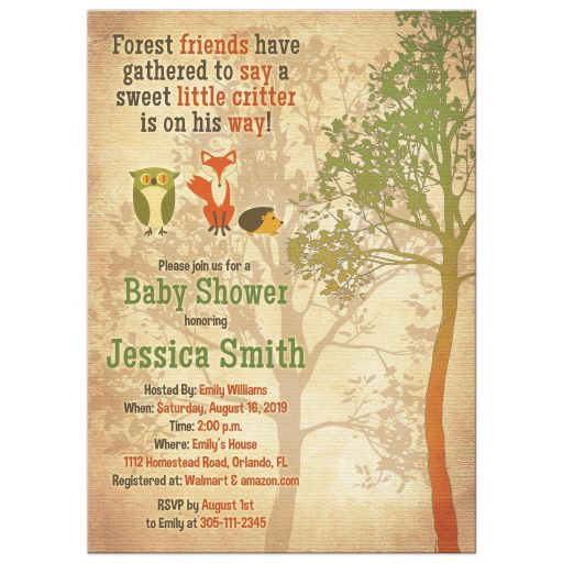 Woodland forest critter baby shower invitation with owl, fox, hedgehog and tree front