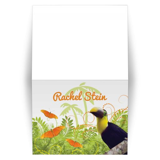 Tropical jungle themed Bat Mitzvah invitation with toucan and butterflies