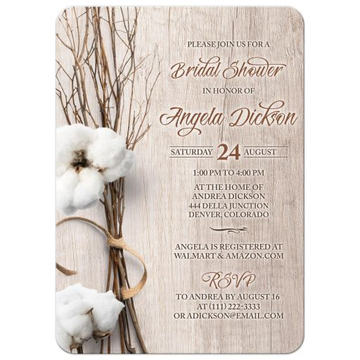 Trendy rustic cotton bridal shower invitation with twigs wrapped in ribbon and woodgrain wood background front