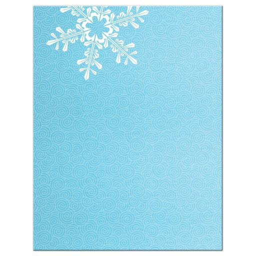 ​Turquoise and royal blue snowflake frozen winter wonderland Bat Mitzvah save the date announcement back