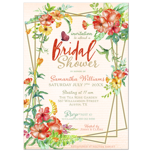 Tropical Flowers & Butterfly Bridal Shower Invitation