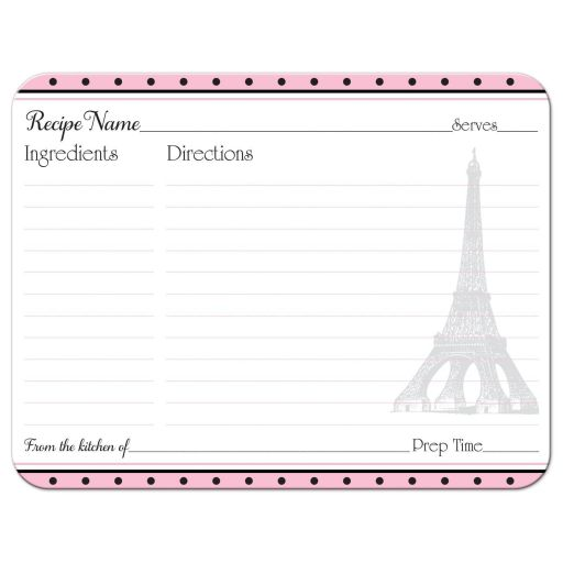 ​Paris Eiffel Tower Fleur-de-lis and polka dots pattern bridal shower recipe card in pink, black, and white.