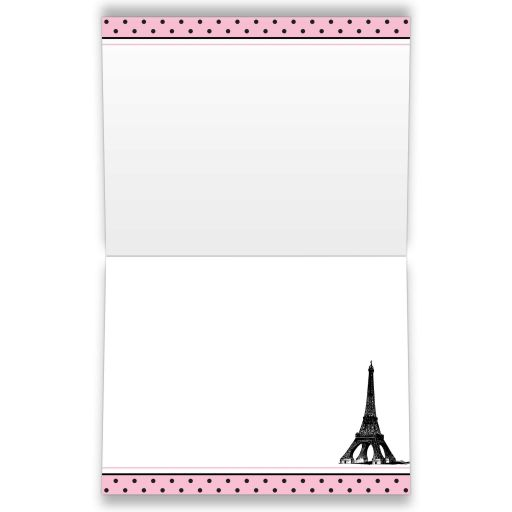 ​Paris Eiffel Tower Fleur-de-lis and polka dots pattern bridal shower thank you card in pink, black, and white.