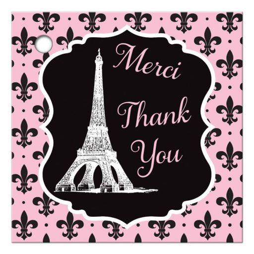 ​Paris Eiffel Tower Fleur-de-lis and polka dots pattern bridal shower favor tag in pink, black, and white.