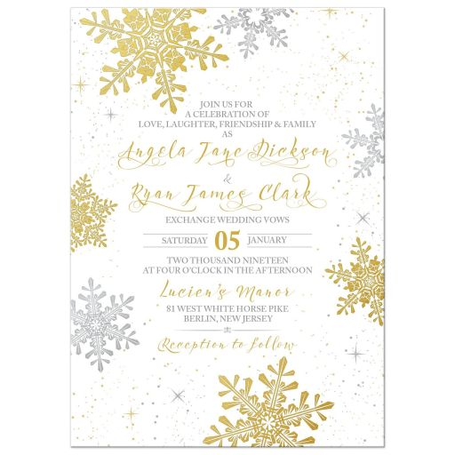​​Elegant gold and silver snowflake winter wedding invitation front