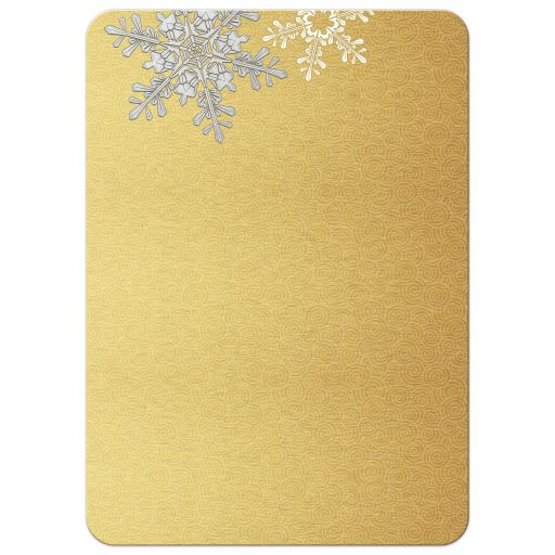 ​​Elegant gold and silver snowflake winter wedding invitation back
