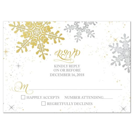 Elegant silver and gold snowflake winter wedding RSVP card front