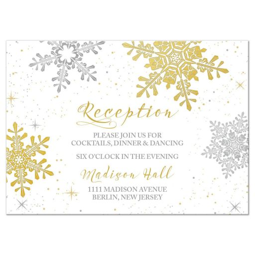 ​Elegant silver and gold snowflake winter wedding reception card front