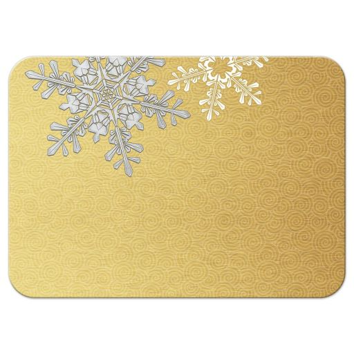 ​Elegant silver and gold snowflake winter wedding reception card back