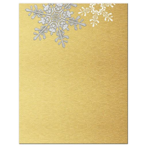 Elegant gold and silver snowflake winter wedding save the date back