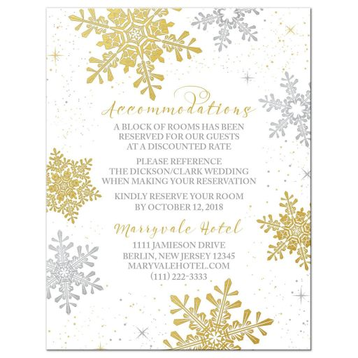 Elegant silver and gold snowflake winter wedding details card front