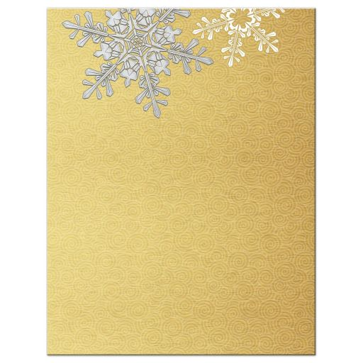 Elegant silver and gold snowflake winter wedding details card back