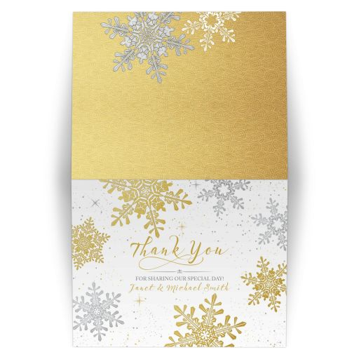 ​Elegant silver and gold snowflake winter wedding personalized thank you card front and back of folded card