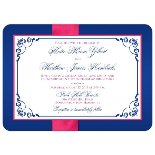 Royal blue, fuchsia pink, and white floral wedding invite with ribbon, bow, glitter, jewels double joined hearts buckle brooch on it.