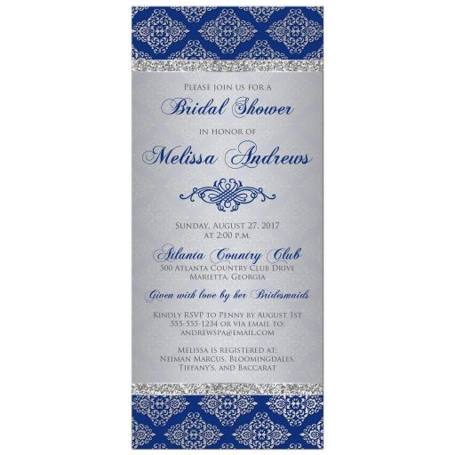 Royal blue ​and silver grey damask pattern bridal shower invitation with silver glitter and ornate scroll.