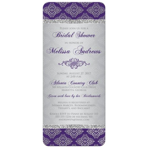 Purple and silver grey damask bridal shower invite with silver glitter and an ornate scroll.