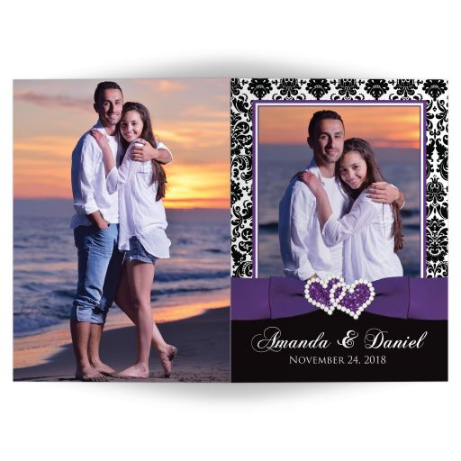 ​Purple, black, and white damask pattern wedding invitation card with ribbon, jewels, and glitter joined hearts and photo templates on it.