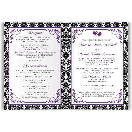 ​Purple, black, and white damask pattern wedding invitation cards with ribbon, jewels, and glitter joined hearts and photo templates on it.