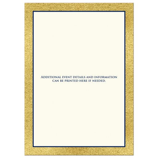 Navy blue, gold, and white any year class reunion invitations with laurel branch wreath and ornate scroll.