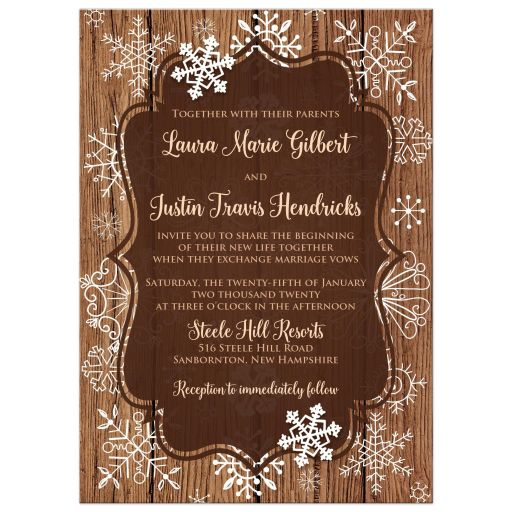 Rustic brown wood grain look winter wedding invitation with white whimsical hand drawn snowflakes and photo template.