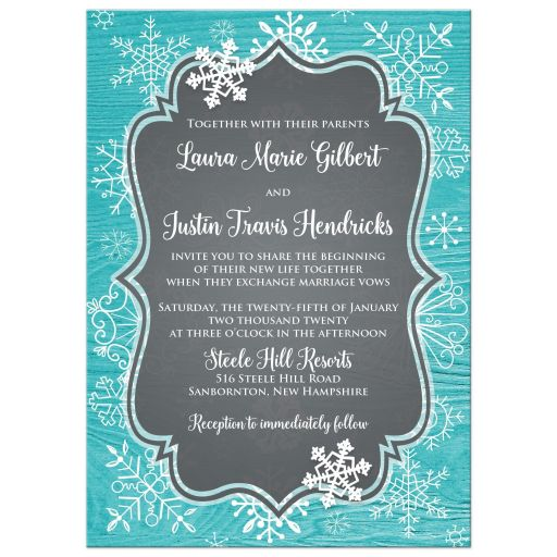 Turquoise or teal blue wood grain look winter wedding invitation with white whimsical hand drawn snowflakes and photo template.