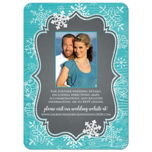Turquoise or teal blue wood grain look winter wedding invite with white whimsical hand drawn snowflakes and photo template.