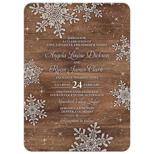 Rustic winter snowflake and wood wedding invitation front