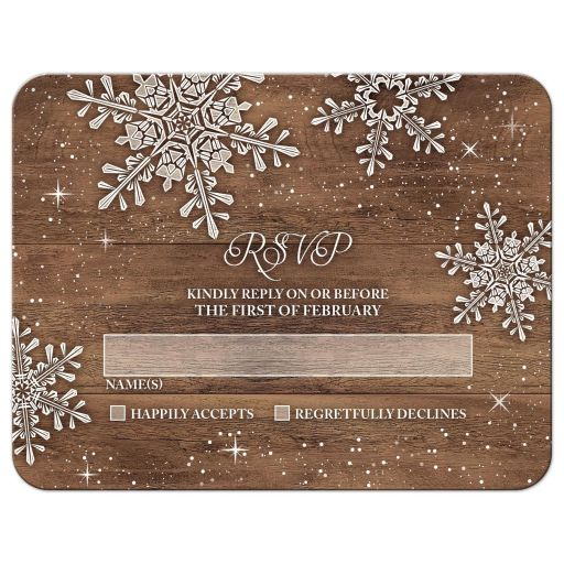 Rustic snowflake and wood winter wedding RSVP card front