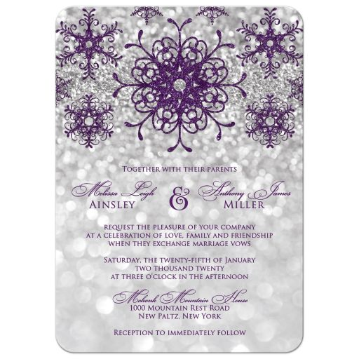 Sparkly purple and silver grey glitter snowflakes and bokeh lighting winter wedding invitation.