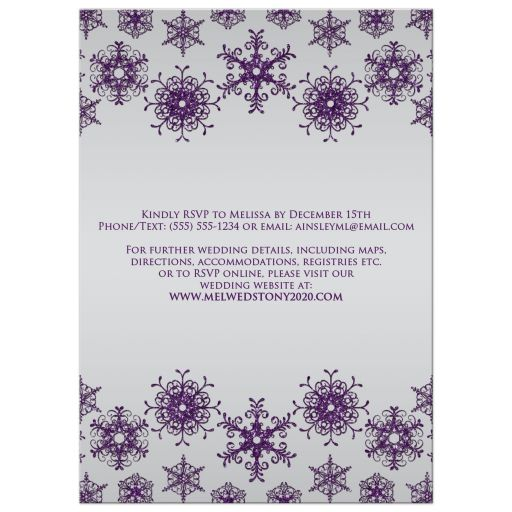 Sparkly purple and silver grey glitter snowflakes and bokeh lighting winter wedding invite.