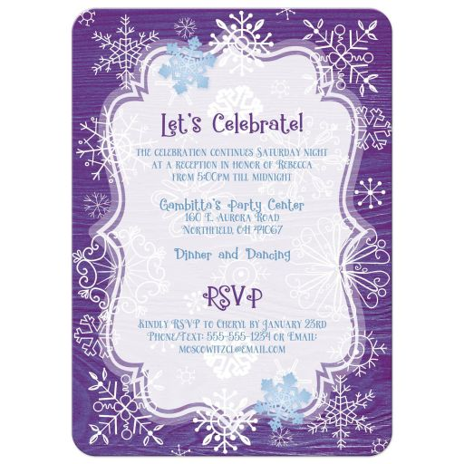 ​Purple, blue, and white whimsical hand drawn snowflakes on purple wood grain winter Bat Mitzvah invites with Star of David and Hebrew name.