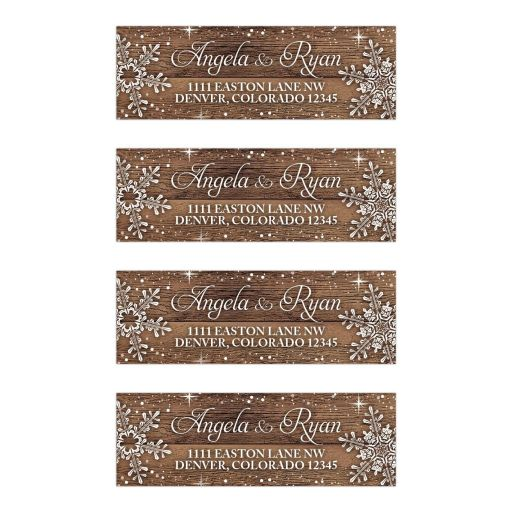 ​Rustic winter snowflake and wood wedding address labels