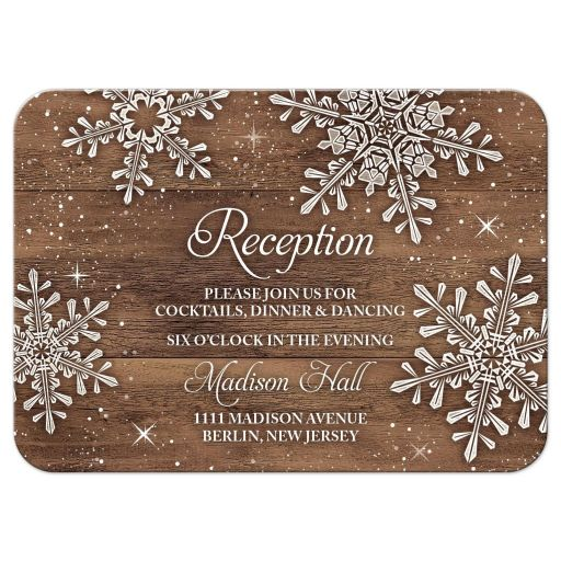 Rustic winter snowflake and wood wedding reception card front