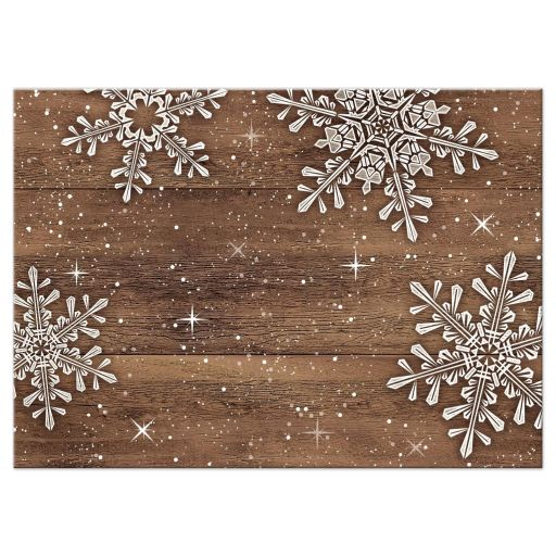 Rustic winter snowflake and wood wedding reception card back
