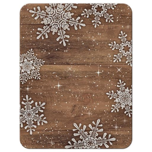 Rustic winter snowflake and wood wedding accommodations or details card back