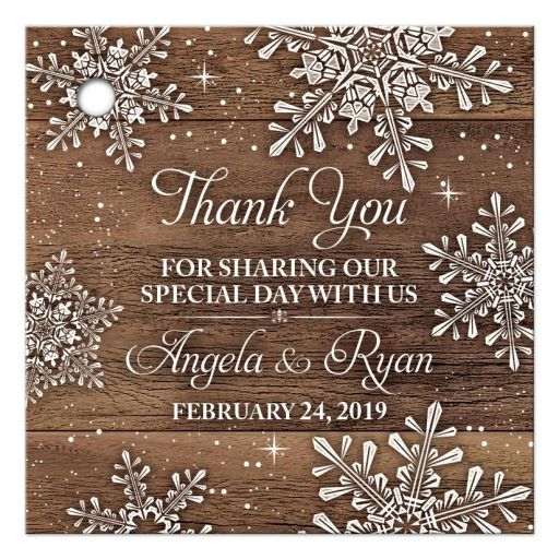 Rustic winter snowflake and wood wedding thank you personalized favor tags front