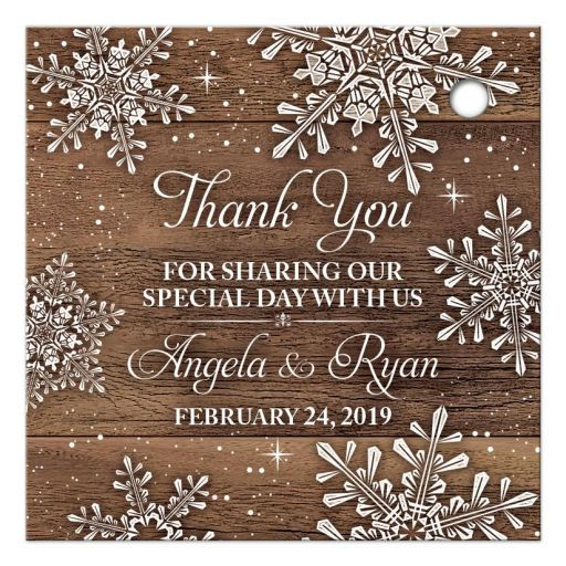 Rustic winter snowflake and wood wedding thank you personalized favor tags back