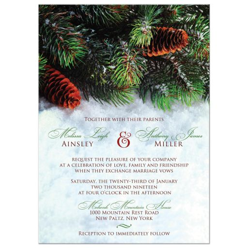 Winter wedding invitation with snow and evergreen branches or boughs.